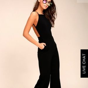 Sexy black open back jumpsuit